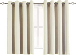 Aquazolax Blackout Curtains Set Decorative Eyelets Top Solid Thermal Blackout Door/Window Curtain Drapes for Bathroom, 2 Panels, 54W x 45L Inch, Beige