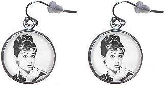 Orecchini pendenti in acciaio inossidabile, diametro 20 mm, fatto a mano, illustrazione Audrey Hepburn 3