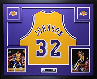 magic johnson signed framed jersey