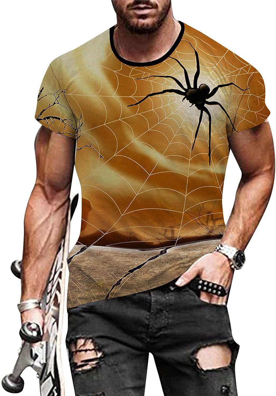 HONGJ Halloween T-shirts for Mens, Funny 3D Digital Printed Crewneck Athletic Tee Tops Pumpkin Haunted House Tshirt