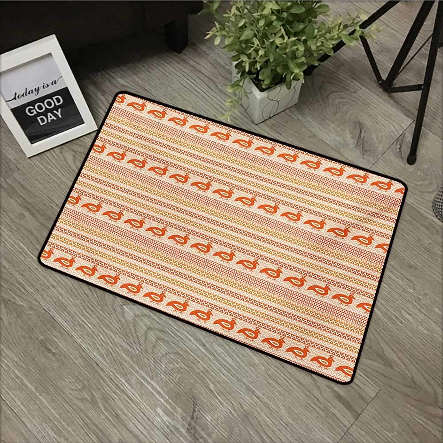 Pool Anti-Slip Door mat W35 x L59 INCH Kente Pattern,Abstract Tribal Ornament with Zigzags and Folk Stylized Birds,orange Beige and White with Non-Slip Backing Door Mat Carpet