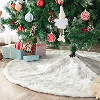 Atiming White Plush Christmas Tree Skirts Luxury Snowy Faux Fur Xmas Tree Base Cover Mat for Xmas New Year Home Party Deco...