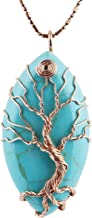 TUMBEELLUWA Tree of Life Pendant Necklace, Marquise Shape Healing Crystals Jewelry for Women