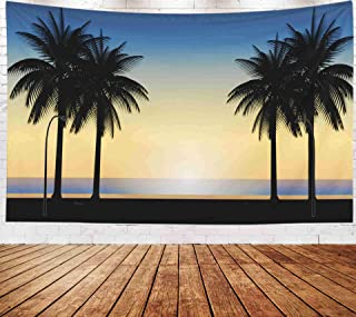 abstract orange blue sunset beach scene Wall Hanging Tapestry,Art Tapestry,Musesh Tapestries Wall Hanging for Bedroom Living Room Decor Inhouse 80x60 Inches Size Sunset Vector With Beautiful Natural L