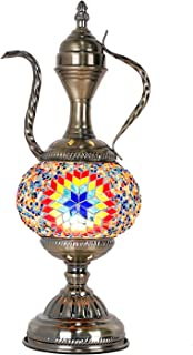 Marrakech Turkish Handmade Mosaic Moroccan Style Glass Table Lamp with E12 LED Bulb (Red Blue)