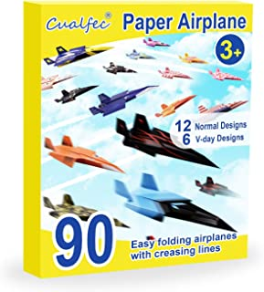 CUALFEC Paper Airplane for Kids Easy Fold and Fly with Creasing Lines 18 Designs Idea Gift for School - 90 Pcs