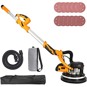 Orion Motor Tech 850W Electric Power Drywall Sander with Vacuum Dust Collector, Swivel Head Extendable Variable 5-Speed LED High Visibility Wall Grinding Machine and 12 Sanding Discs