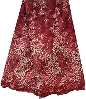 SanVera17 African Lace Net Fabrics Nigerian French Fabric Embroidered and Manual Beading Guipure Cord Lace for Party Wedding (Dark Red) 5 Yards