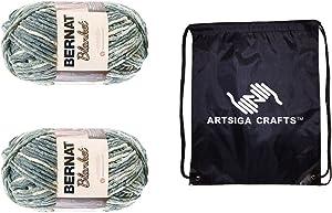 Bernat Knitting Yarn Blanket Big Ball Silver Steel 2-Skein Factory Pack (Same Dyelot) 161110-10001 Bundle with 1 Artsiga Crafts Project Bag