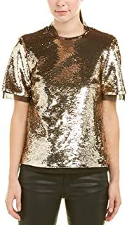 Womens Paillettes Short Sleeves Dress Top