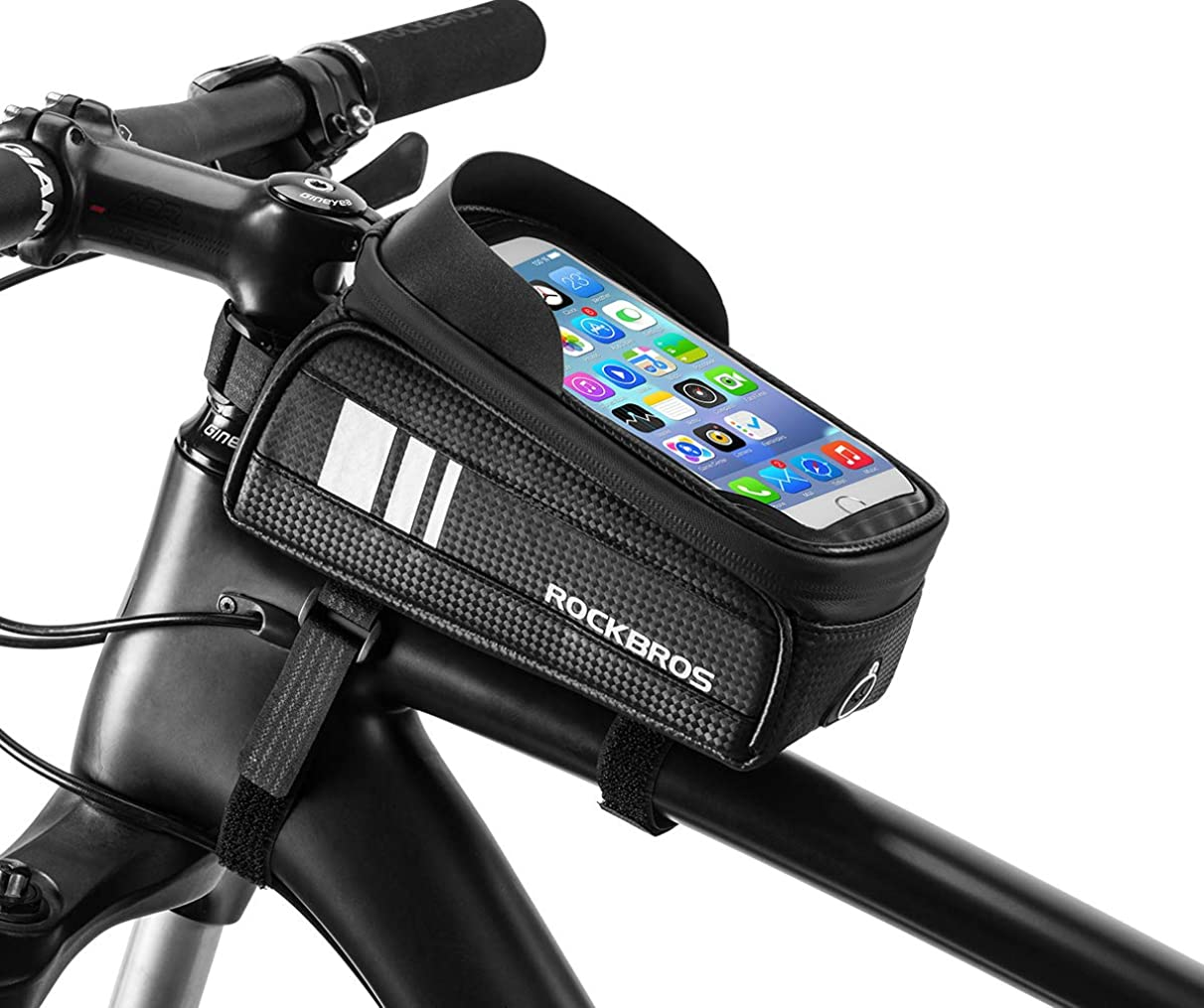 ROCK BROS Bike Phone Bag Waterproof Bicycle Frame Bag Pannier Top Tube Touch Screen Cycling Phone Case Holder for iPhone X XS 8 7 Plus Cellphone Below 6.0 Inches