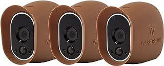 3 Fundas de Silicona compatibles con la cámara de Seguridad Arlo Smart Security - Cámaras 100% inalámbricas de Wasserstein (Marrón)
