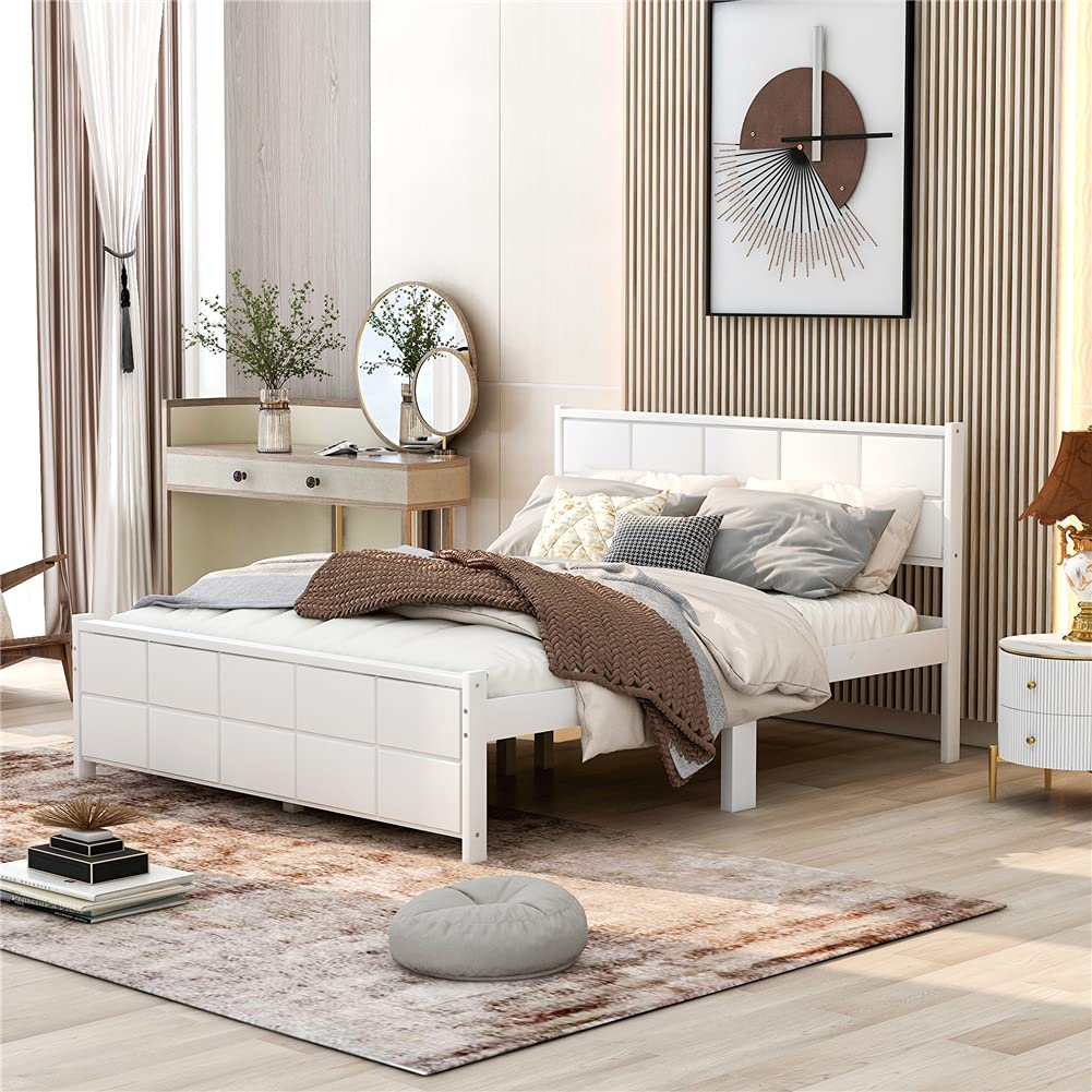 Pinewood Platform Bed Queen Size Tulsa Mall NEW before selling ☆ Frame Furniture Bedroom wi