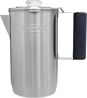 Stanley Camp Percolator w/Silicone Cool Grip - Easy Carry, 6 Cup Stainless Steel Coffee Pot, 1.1...