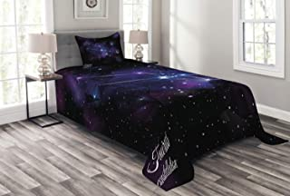 Lunarable Taurus Bedspread, Zodiac Constellation Star Cluster on Space Galaxy Cosmic Mystic Design, Decorative Quilted 2 P...