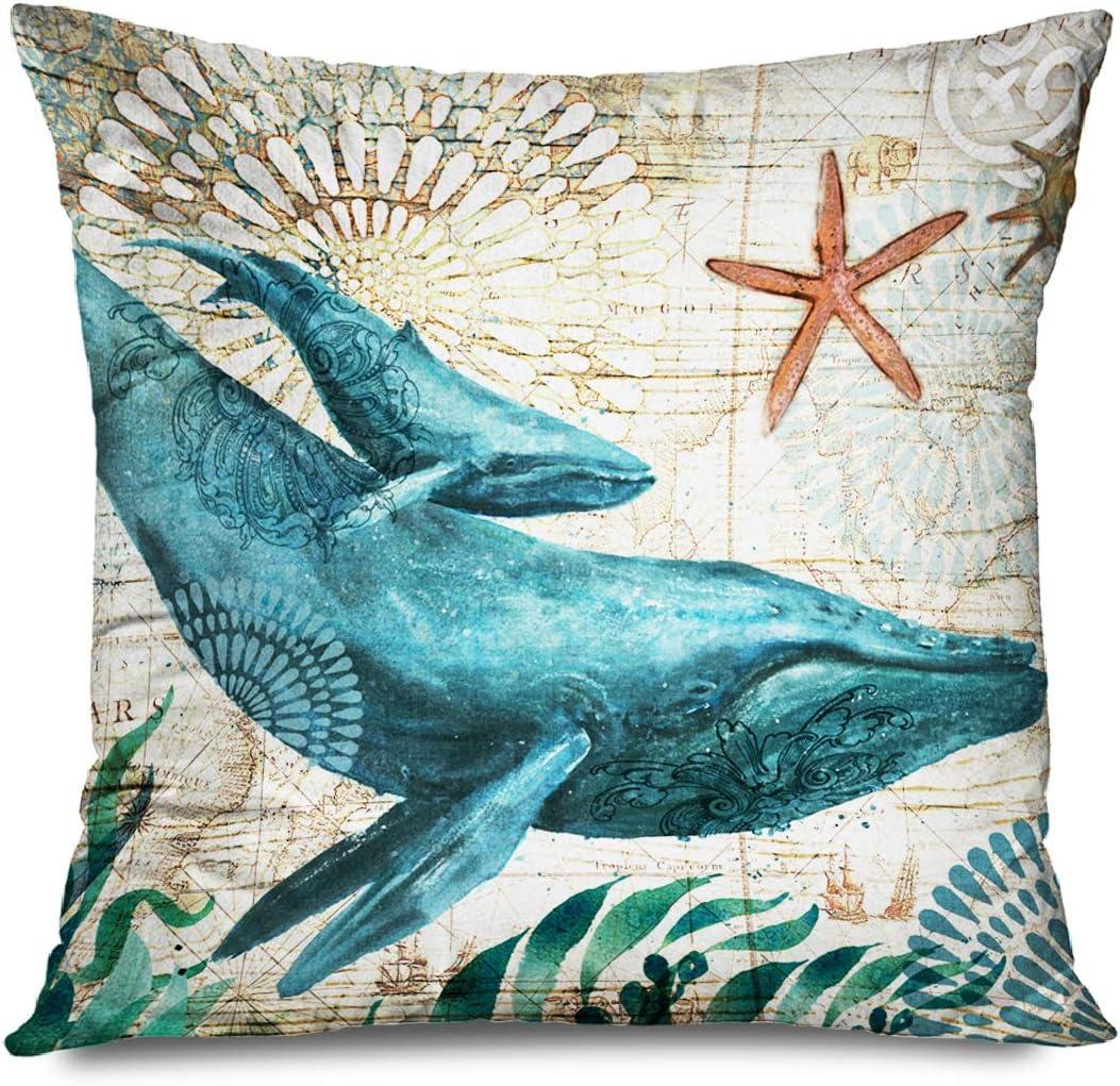 CHARLLR Throw Pillow Cover Max Cheap mail order shopping 51% OFF 18x18 Mediterranean Inch Vintage Sea
