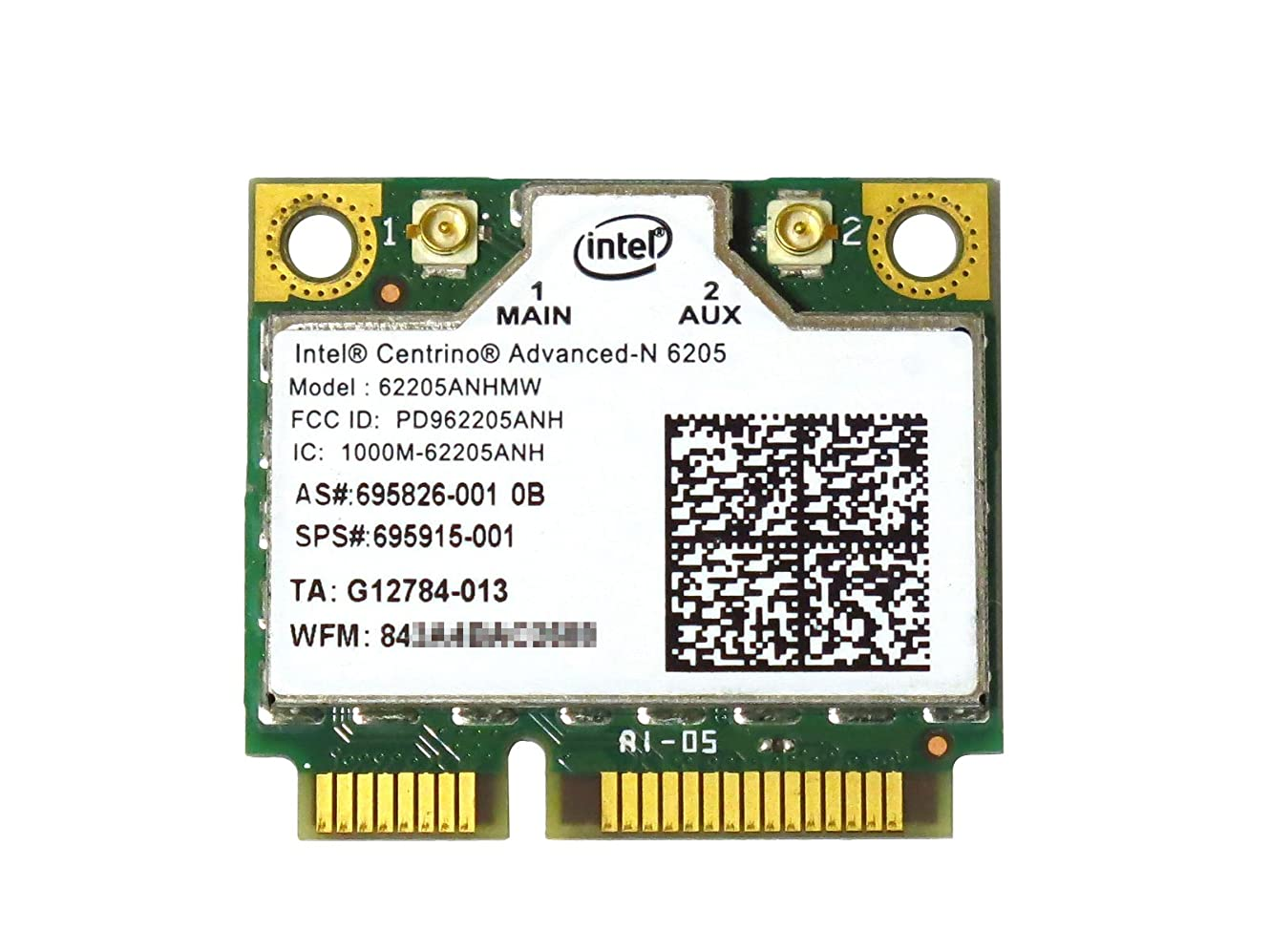 HP 695915-001 Intel Centrino Advanced-N 6205 62205ANHMW 802.11a/b/g/n 300Mbps 2X2 HMC 無線LANカード
