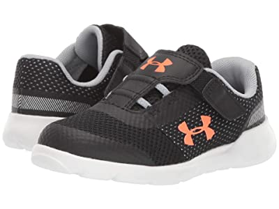 Under Armour Kids UA Inf Surge Running (Toddler) (Black/White/Orange Glitch) Boys Shoes