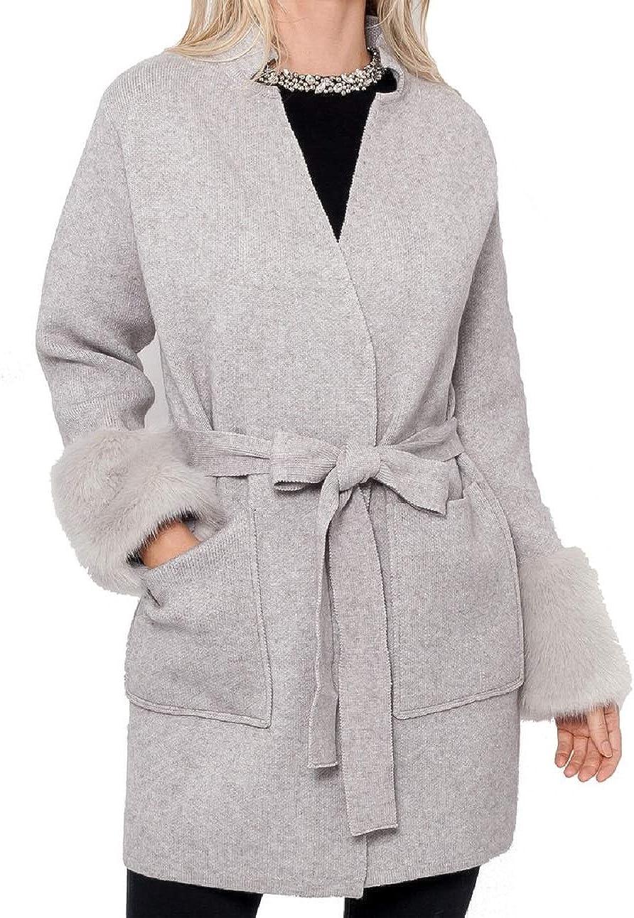 Love Token Ginny Knit Cardigan w/Faux Fur Trim - LT31-13
