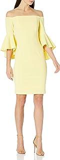 Women's One Shoulder Solid Sheath Dress