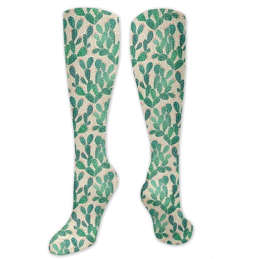 競争うるさい欺qrriyグリーンカクタスパターン- 3 D抗菌アスレチックソックス圧縮靴下クルーソックスロングスポーツ膝ハイソックス少年少女キッズ幼児