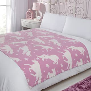 Dreamscene Unicorn Fleece Blanket Throw Over for Girls Adult Baby Kids Twin Bed Couch Plush Sofa Warm Soft, Blush Pink White Stars - 50
