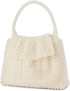 UBORSE Damen Handtasche Weiß Clutch Beige Clutch Perlen Desigual Tasche Kleine Henkeltasche Damen Ketten Abendtasche für M...