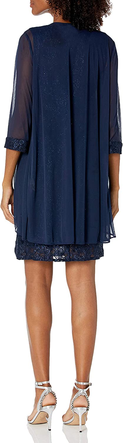 R&M Richards Women's Two Piece Fly Away Jacket Over Beaded Neck Laced Dress