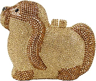 Clutch-Purse Ladies Sequin Diamante Womens Luxury Chain Evening-Bags Bling Bridal Puppy Yellow