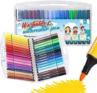 SAYEEC Children Watercolor Pen Set Thick Point Coloring Pen Washable Marker Drawing Pens 36 Colors Art Market Set for Adul...