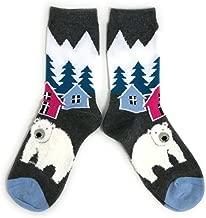 Ladies Polar Bear In Mountain Village Socks UK 4-8 Eur 37-42 USA 6-10