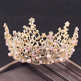 Penxina Vintage Bridal Crown for Wedding - Full Round Floral Rhinestone Princess Tiara Headpieces for Party Prom Women Hair Accessories (Gold+Pink)