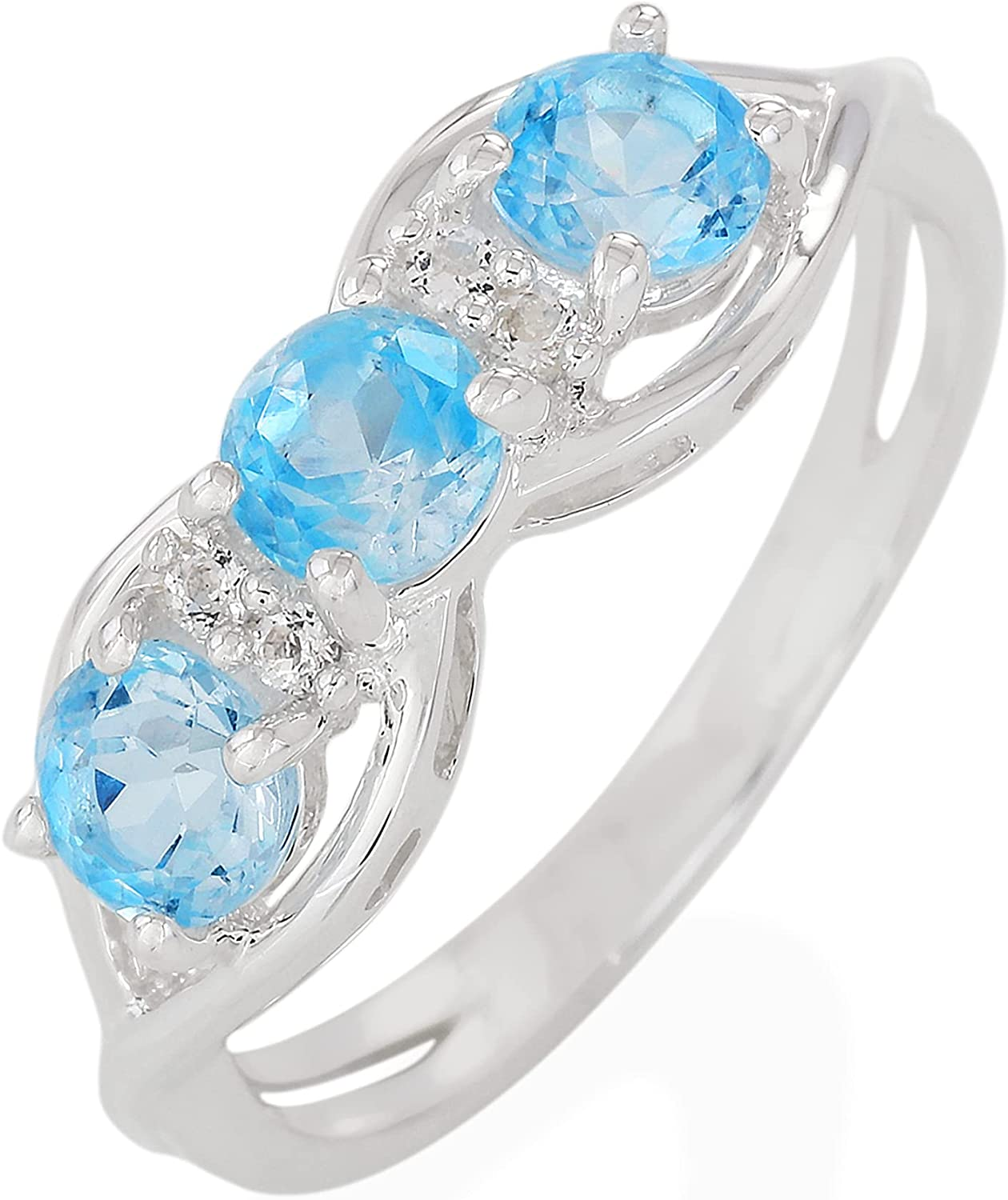 ATELIER Excellence PINKCITY Genuine Free shipping Blue Topaz 3 Si 925 Stone Ring Sterling