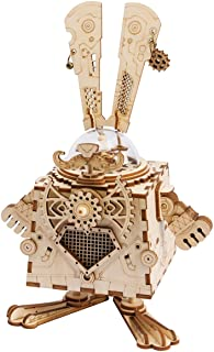 ROBOTIME 3D Laser Cut Wooden Puzzle Music Box Kit DIY Robot Toy RoboBunny Craft Kit Best Birthday Gifts for Men & Women