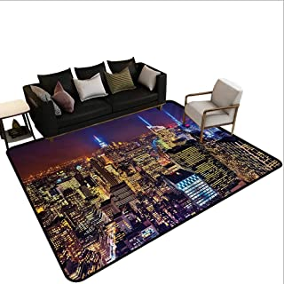 Home Custom Floor mat,Aerial Cityscape Landmark Fourth of July Independence Penthouse Modern Art Image 6'6