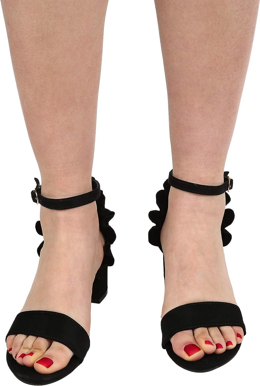 Syktkmx Womens Ruffles Open Toe Sandals Ankle Strap Chunky Mid Heel Dress Pumps Sandals
