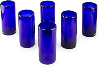 NOVICA Artisan Crafted Dark Blue Recycled Glass Hand Blown Cocktail Glasses, 13 oz. 'Pure Cobalt' (set of 6)
