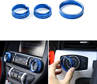 WEYWU Aluminium Alloy Headlight Volume Tune Control Shift Knob Cover Ring Interior Decoration Trims for Ford Mustang 2015 ...