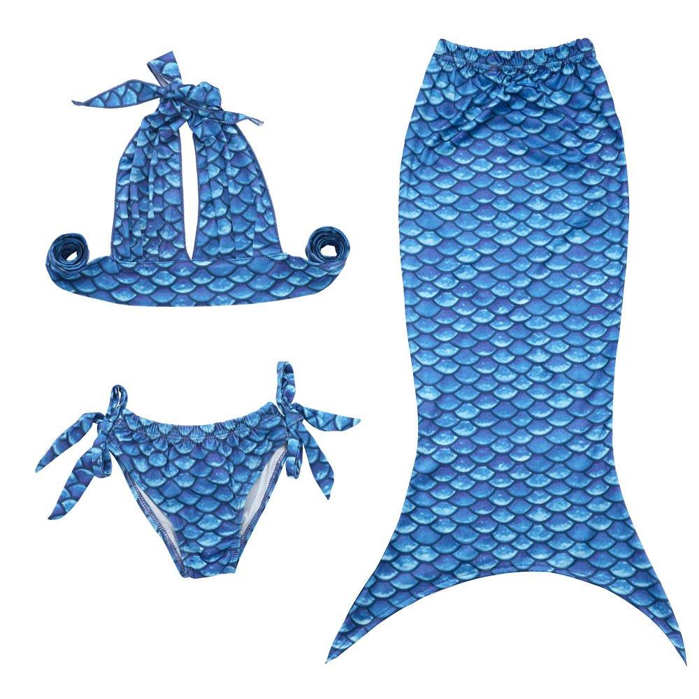 2-8T JFEELE 3pcs Toddler Mermaid Swimsuit for Baby Girls Mermaid Tail Bathing Suit Bikini Swimming Set