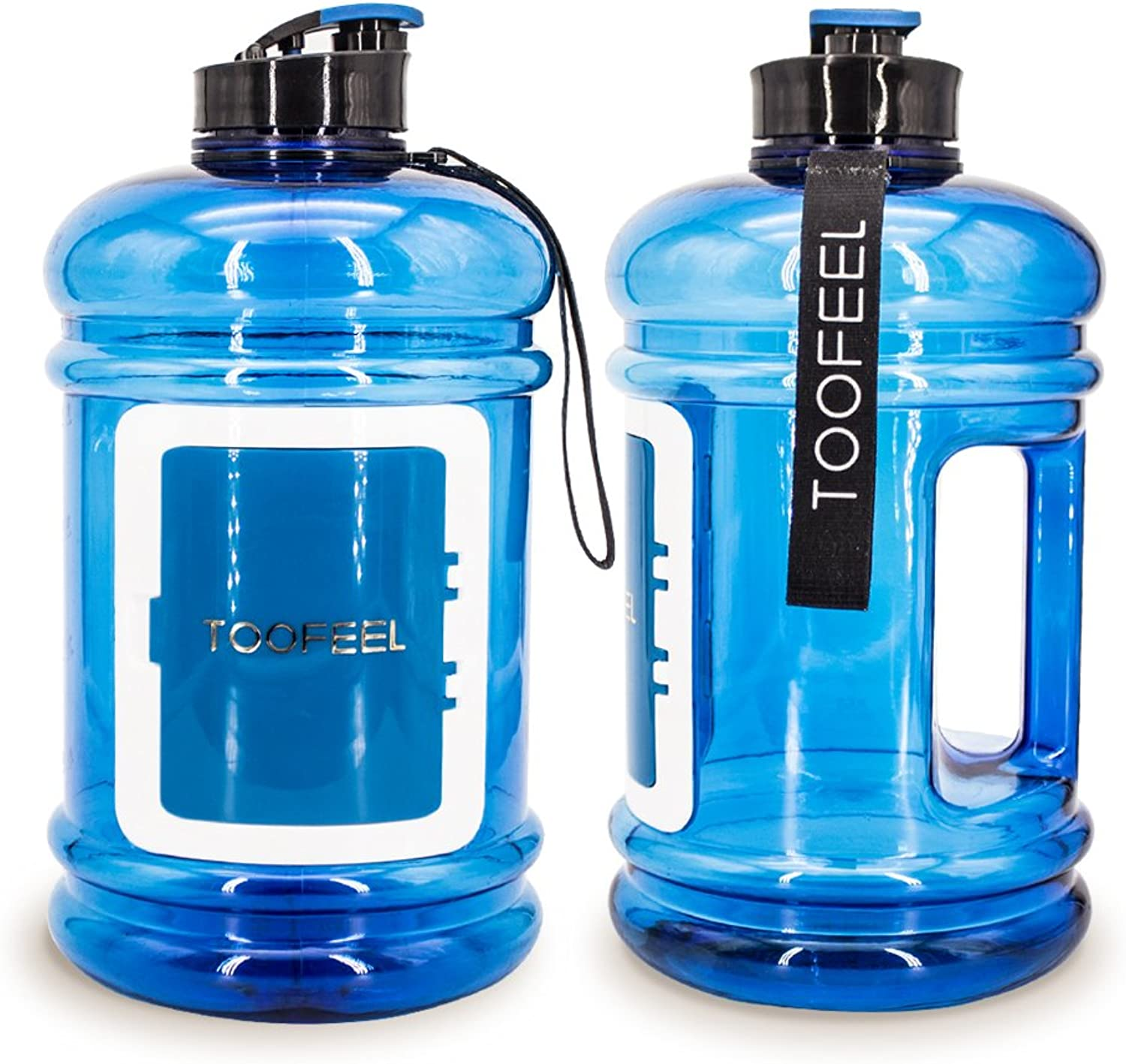 TOOFEEL Sports Water Jug 2.2L Big Water Bottle BPA Free 75OZ Hot Cold Tritan Large Drinking Jug Canteens with Money Card Key Drawer Shaker Bottle for Camping & Hiking Training