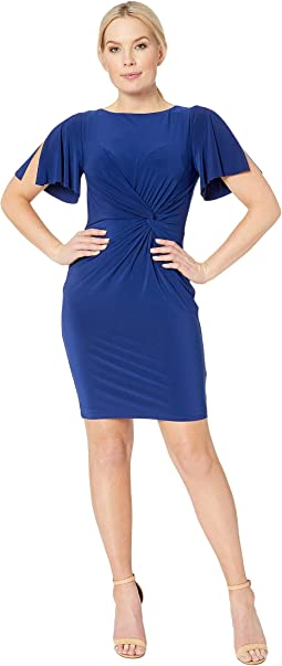 Petite 4R Matte Jersey Beckyann Short Sleeve Day Dress