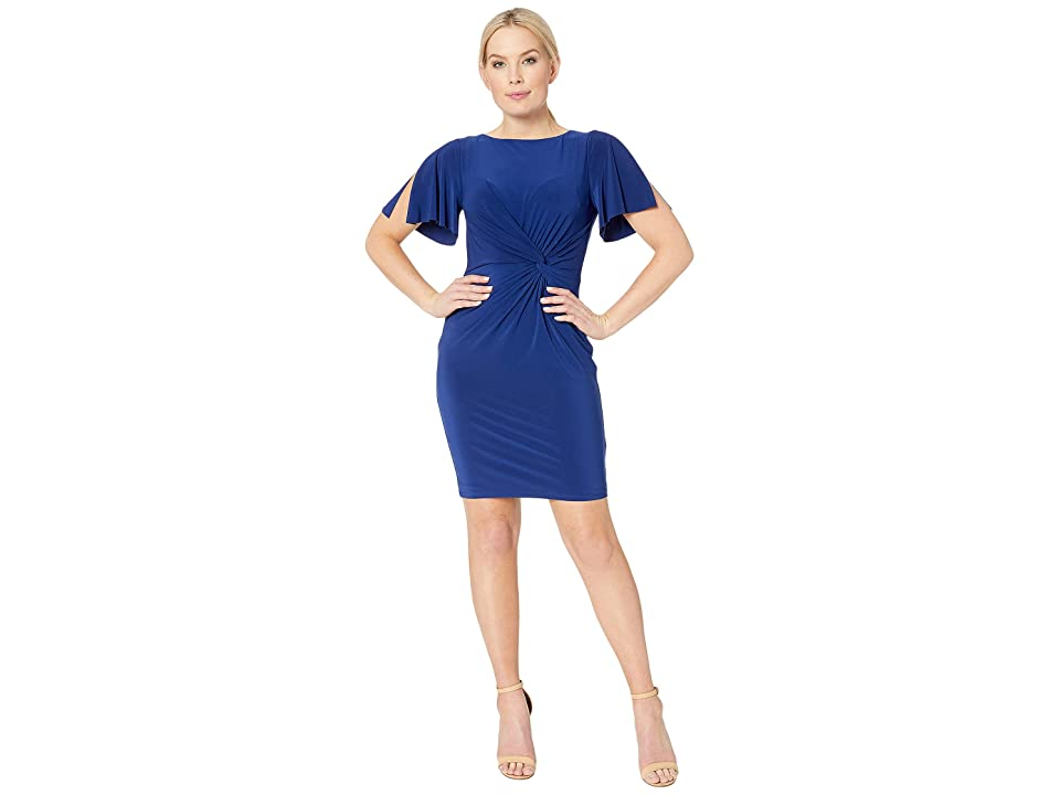 LAUREN Ralph Lauren Petite 4R Matte Jersey Beckyann Short Sleeve Day Dress (Rich Sapphire 1) Women