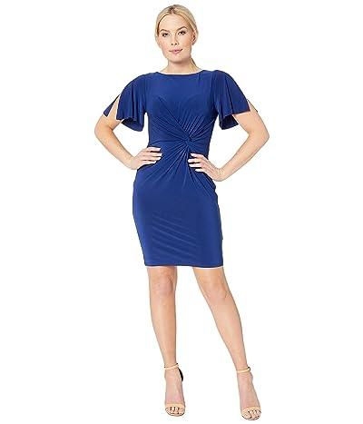 LAUREN Ralph Lauren Petite 4R Matte Jersey Beckyann Short Sleeve Day Dress (Rich Sapphire 1) Women
