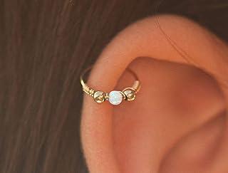 Piercing Earrings - Gold Ear Piercing - 24G Piercing Earring,thin ear piercing,Tragus Cartilage ring,small ear piercing, opal ear piercing, piercing hoop