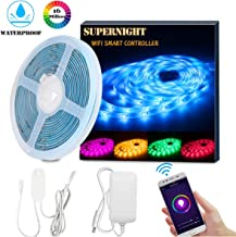 SUPERNIGHT Smart LED Strip Lights, WiFi Wireless Smart Phone Controlled LED Light Strips Kit 16.4ft Waterproof 5050 RGB Tape Lights, Support Alexa Google Assistant Voice Control, UL Power Supply