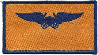 Aviation Pilot Weapon Officer Gold Wings Blue Patch