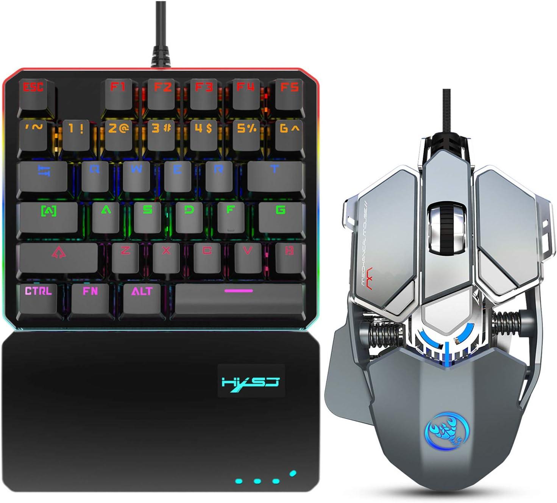 Homeriy USB Wired Keyboard Mouse Set 35 Keys One-Handed Gaming Keyboard + 9 Keys Macro Programming Mouse