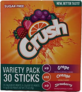 Crush Singles Grape, Orange, Strawberry To Go Sugar Free Drink Mix Variety Pack 2.75 oz Pack of 30 Sticks