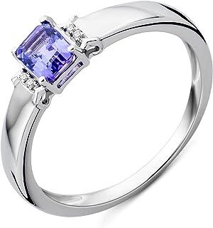 Miore Women's 9 ct White Gold Emerald Cut Diamond Tanzanite Ring