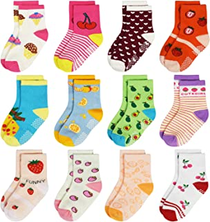 Toddler Girl Boy Socks 12 Pairs Baby Socks Non Skid Slipper Kid Socks Grips 0-1/1-3/3-5 Years Old Baby